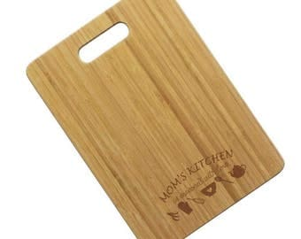 Bamboo Mom's Kitchen Seasoned with Love Engraved Cutting Board - Mother's Day Gift - From Daughter - Mom Life - Kitchen Wall Decor - For Her