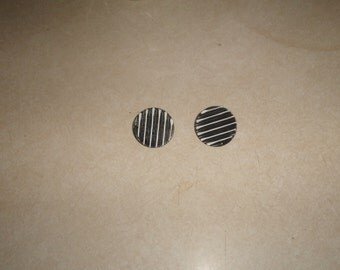 vintage clip on earrings black white stripe metal enamel circle