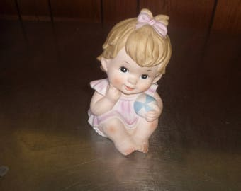 vintage girl with ball figurine piano baby lefton china