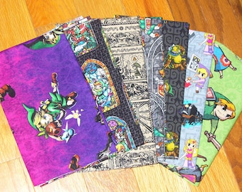 Legend of Zelda,  7 Fat Quarters,  Zelda Fabric Stained Glass, Link and Zelda, Wind Waker,  Zelda Characters, Nintendo Fabric, Zelda F Q