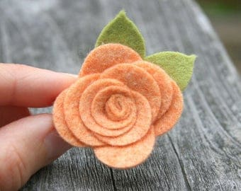 Peach Flower Hair Clip, Felt Flower Hair Clips for baby, infant, toddler tween teen adult, 2 SIZES available - OVER 30 COLORS to choose from