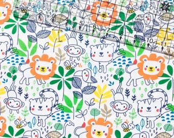 Jungle Lion Monkey Snuggle Flannel Fabric By The Yard