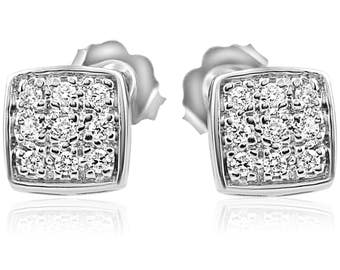 Diamond Studs Pave Cushion Cluster White Gold Earrings 1/3cttw 8mm wide Round Cut