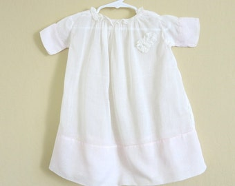 Edwardian Baby/ Doll Dress White Pink Batiste Lace Ribbon Accents Size 18-24 Months 101b