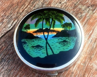 Vintage Butterfly Wing Face Powder Compact- Rion Brazil