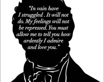 Jane Austen Art Print -  Pride and Prejudice - Mr Darcy Proposal - Bookish - JAPP001