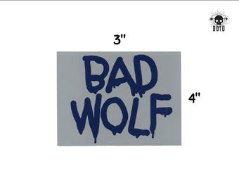 Bad Wolf sticker doctor who time machine space travel opaque decal