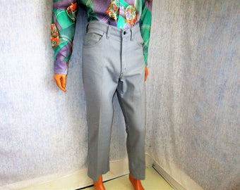 """70s 33"""" x 30"""" Levis Sta-Prest Polyester Jeans Mens Flares PANTS Gray"""