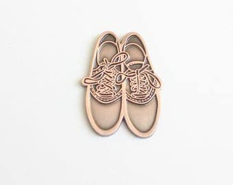 "Antique Copper Saddle Shoes Lapel Pin - 1.25"" enamel, gift for her, vintage vibe"