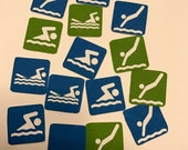 """Erin Condren, Kate Spade, MAMBI, personal planners, these 1/2"""" square swim team accessory stickers can be used"""