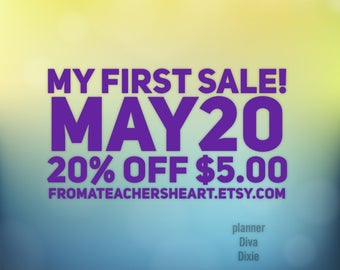My first sale!! Add code MAY20 at check out on orders of 5 dollars up to 10 dollars