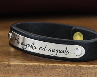 """Fiance Gift, Girlfriend Gift, Womens Personalized Leather Bracelet - 1/2"""" Wide - Womens Id Bracelet Hand Crafted in USA"""
