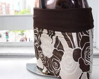 Brown Roses and White Print Micro Mini Skirt