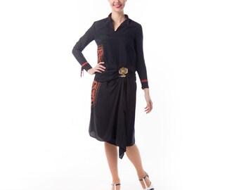 1920's Black Silk Drop Waist Embroidered Dress/ 20's Flapper Slip Dress Art Deco  Rhinestone Brooch Day dress