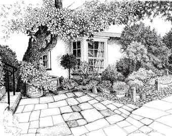 English front garden, black and white art,English art.England scenes,British art,print of English garden,original drawing of English garden