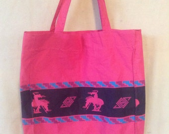 Vintage light canvas tote bag New Mexico
