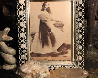 Bearded Lady Cabinet Card Reprint in Vintage Metal Frame at Gothic Rose Antiques