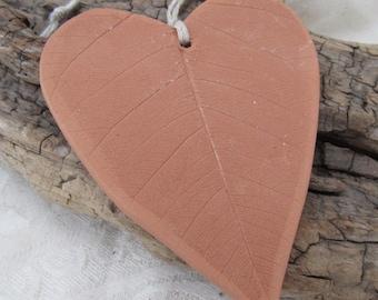 Large Terracotta Ceramic Leaf Textured Heart Ornament
