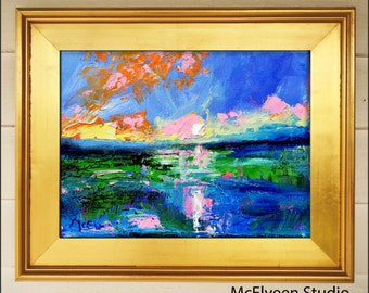 Charleston Harbor Light - Original Abstract Painting  Landscape  Painting by Claire McElveen , Available  Framed and Ready To Hang