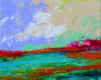 "Fine Art Giclee Print ""Turquoise Marsh"" From Original Landscape Painting by Claire McElveen Signed"
