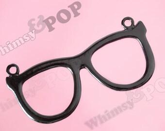 1 - HUGE Black Rimmed Glasses Nerdy Nerd Geekery Geek Connector Charm Pendant, Glasses Charms,  93.5mm x 45mm (R7-045)