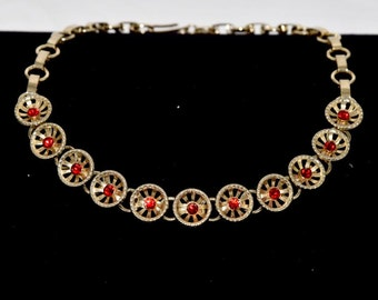Red Crystal Rhinestone 1960's gold choker necklace