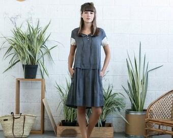 Pre Winter Sale 15% Drop waist midi dress with lace detail ,Grey linen summer dress