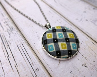 Fabric Pendant Necklace, Fabric Necklace, Pendant Necklace, Fabric Jewelry, Boho Necklace, Large Pendant, Teal Black Necklace, Geo Patchwork