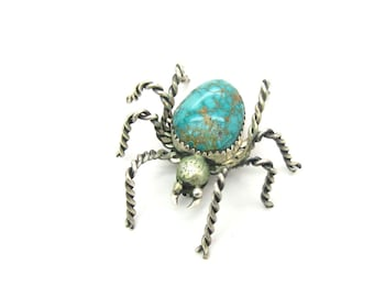 Spider Brooch. Navajo Turquoise Sterling Silver Arachnid Bug Figural. Large Gemstone Abdomen. Insect Style. Vintage Native American Jewelry