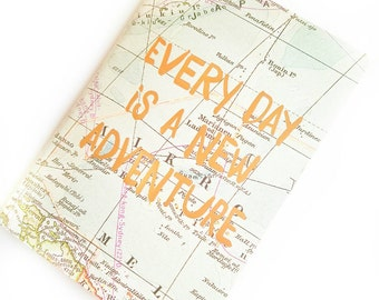 Quoted Map Journal, Gold Map Journal, Travel Journal, Travel Junk Journal, Maps Journal, Geographic Journal, Adventure Journal, Map Book