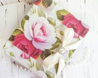 Roses Fabric Album, Valentines Day Album, Pink and Red Roses, Romantic Album, Shabby Chic Album, Wedding Roses Album, Handmade Album, Roses