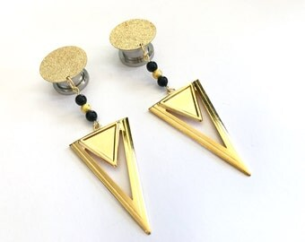 "Gold Glitter Plugs 1/2"" 9/16"" 7/16"" Geometric Triangle Lightweight Dangle Plugs 11mm 12mm 14mm Hanging Gauges"