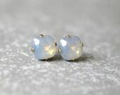 SALE Gray Opal Stud Earrings Swarovski Crystal Opal Post Earrings Super Sparklers Square Mashugana