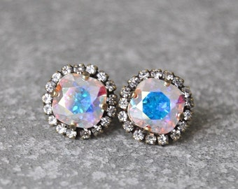 SALE Aurora Borealis Rhinestone Swarovski Crystal Stud Earrings Northern Lights Pastel Rainbow Pastel Rhinestone Pendant Necklace Mashugana