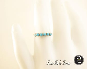 Vintage 10k gold and turquoise ring, gemstone stacking ring,  Two Girls Gems