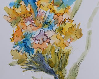 Abstract Wild Flowers original watercolor painting with pen and ink detail-flower painting-wall art-home decor-house warming gift-office art