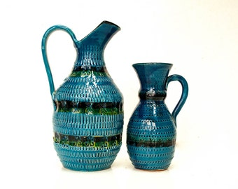 Pair of Mid-Century Rimini Blue Bitossi Pitchers - Made in Italy