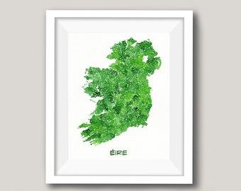 Ireland Map Watercolor - Personalized Irish Wedding Gift - St Patricks Day - Shamrock Green Decor - Travel Art Irish Family Anniversary Gift
