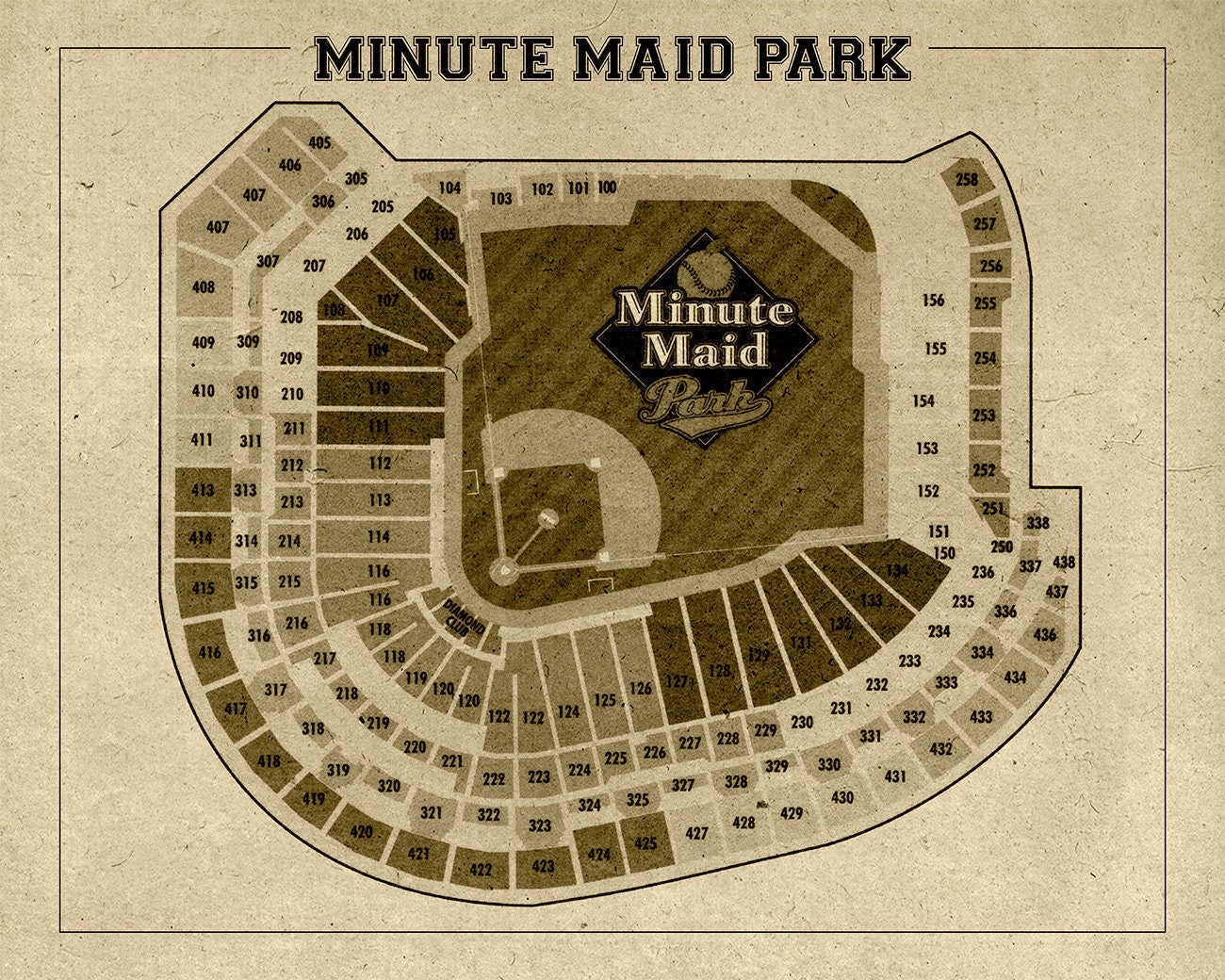 Vintage print of minute maid park seating chart houston for 12x15 calculator