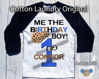 Cookie Monster birthday shirt Cookie Monster themed birthday shirt baseball raglan style