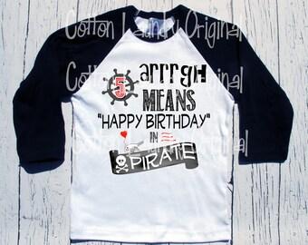Pirate birthday shirt Arrrgh birthday tee shirt bday   party themed  birthday   shirt   baseball   raglan style