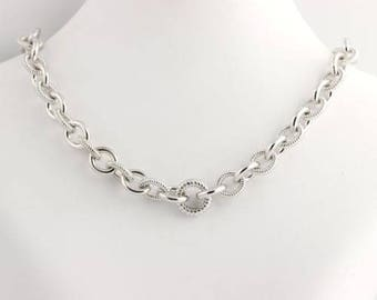 """Cable Chain Necklace - Sterling Silver Necklace 20 1/4"""" L128"""