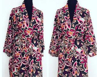 Hawaiian Graphic Floral Print 100% Lighweight Cotton Kimono Robe