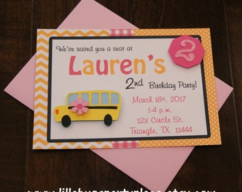Girl School Bus 5x7 Personalized Invitations