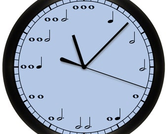 Decorative Blue Music Notes Wall Clock for Musician