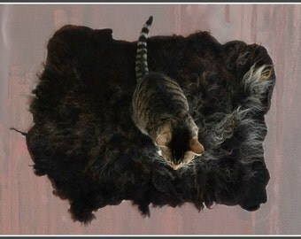 Cruelty Free, Black Shetland, Cat Bed, Dog Bed, Humane Sheepskin,  Felted Fleece, Pet Bed, Pet Lover Gift, Natural Cat Bed, Ready to Ship