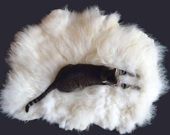 Cruelty Free, Navajo Churro, Cat Bed, Dog Bed, Pet Bed, Felted Wool, Fleece Rug, White Wool, Humane Sheepskin, Eco Friendly