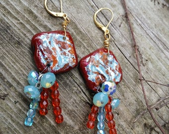 Pacific Opal Blue Swarovski Crystal dangles & One of a kind Artisian CLay Bead Earrings. Preciousa Czech Glass bead Accents. 14K GOLD fill