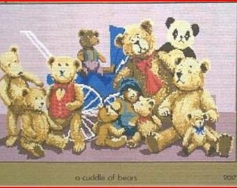 NEW Needlepoint Canvas: Cuddle Of Teddy Bears