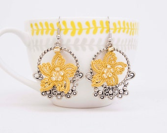Crochet  earring , beaded crochet oya  flower earring,yellow